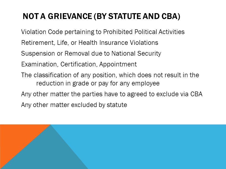 Not a Grievance (By Statute and CBA)