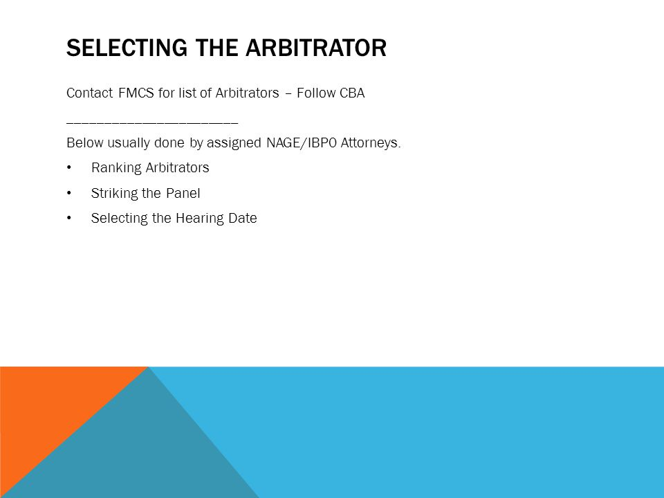 Selecting the Arbitrator
