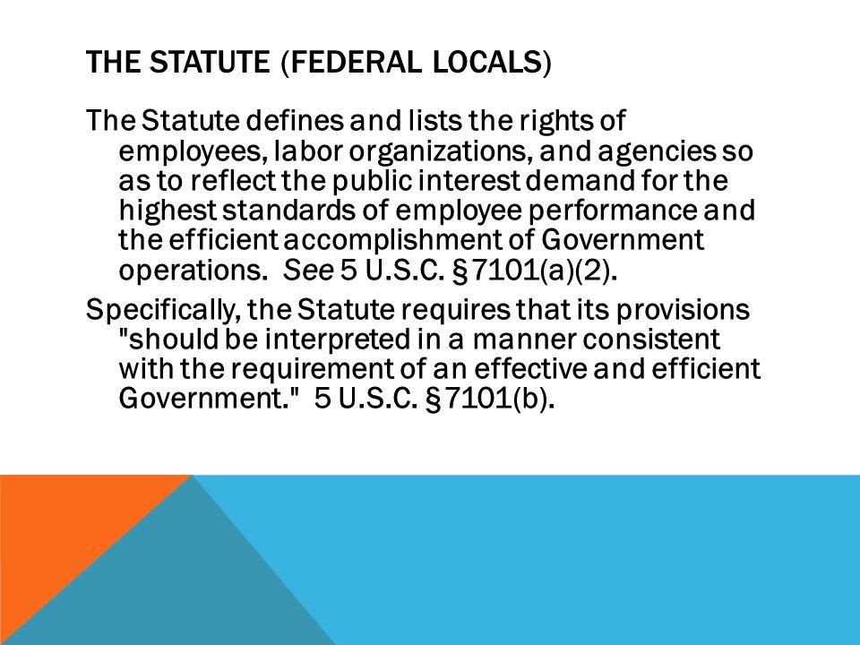 THE STATUTE (Federal Locals)