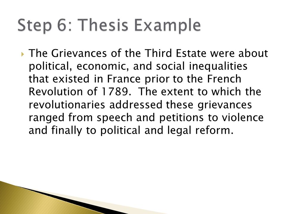 Step 6: Thesis Example