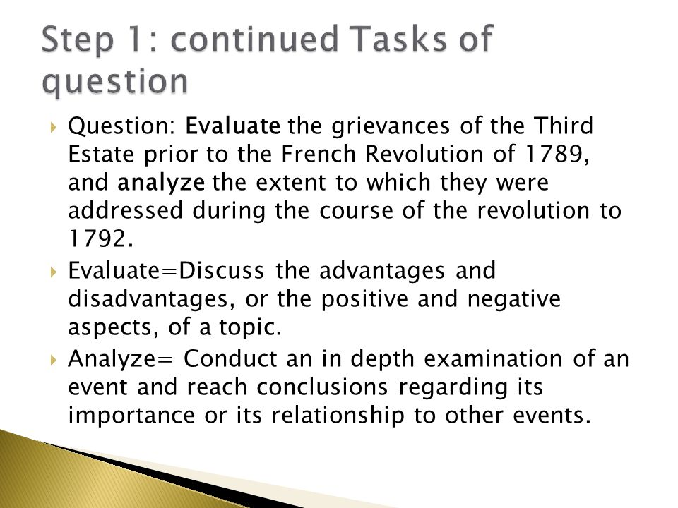 Step 1: continued Tasks of question