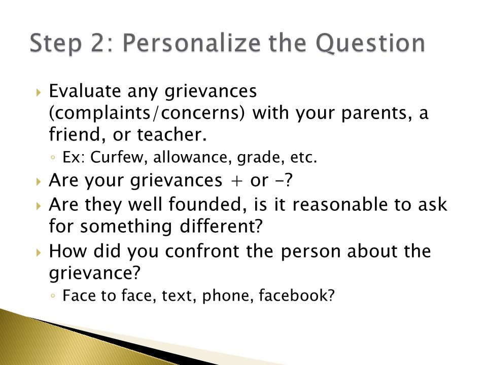 Step 2: Personalize the Question