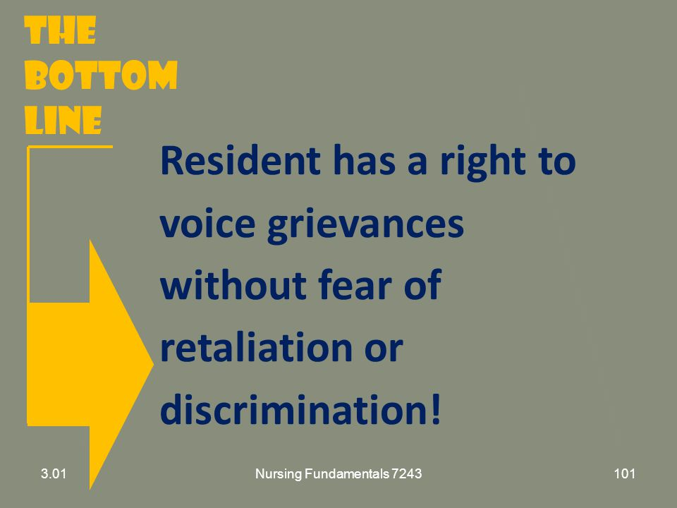 The Bottom Line Resident has a right to voice grievances without fear of retaliation or discrimination!