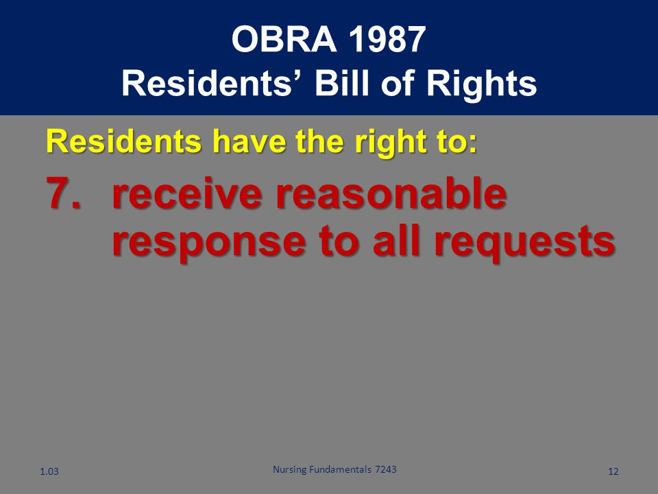 Residents' Bill of Rights