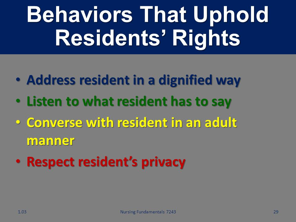 Behaviors That Uphold Residents' Rights