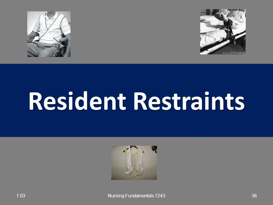 Resident Restraints 1.03 Nursing Fundamentals 7243