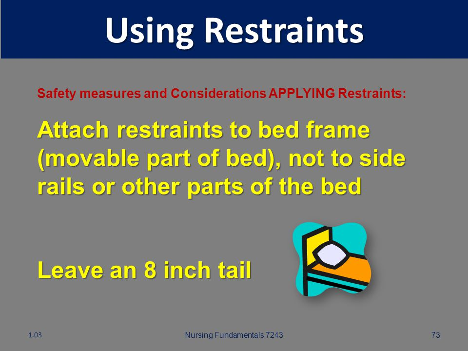 Using Restraints Safety measures and Considerations APPLYING Restraints: