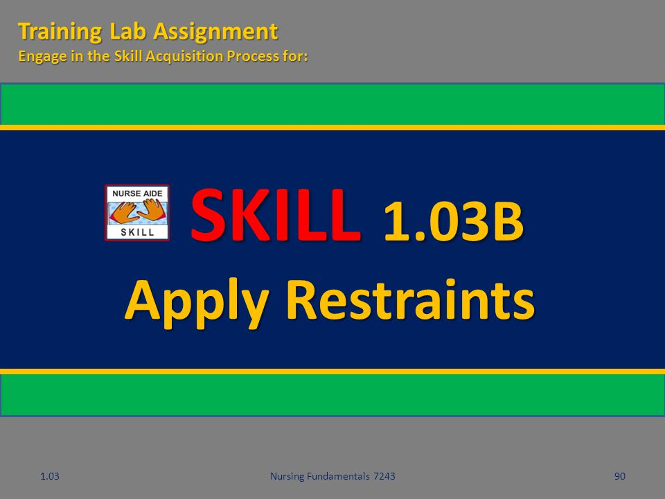 SKILL 1.03B Apply Restraints Training Lab Assignment