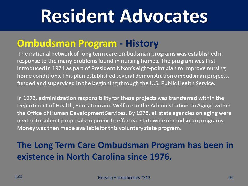 Resident Advocates Ombudsman Program - History