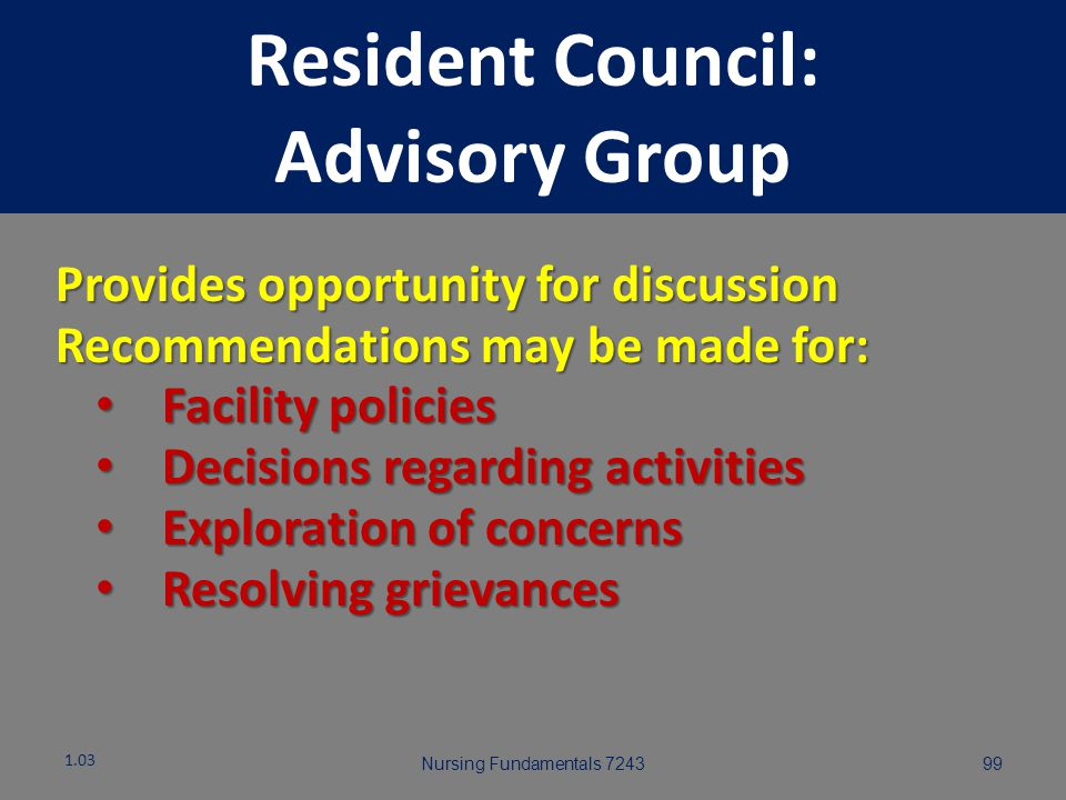 Resident Council: Advisory Group