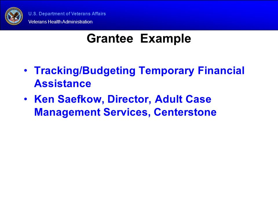 Grantee Example Tracking/Budgeting Temporary Financial Assistance