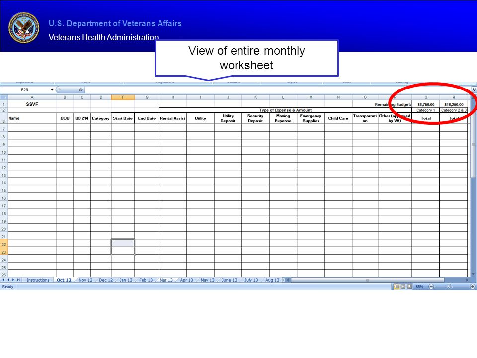 View of entire monthly worksheet