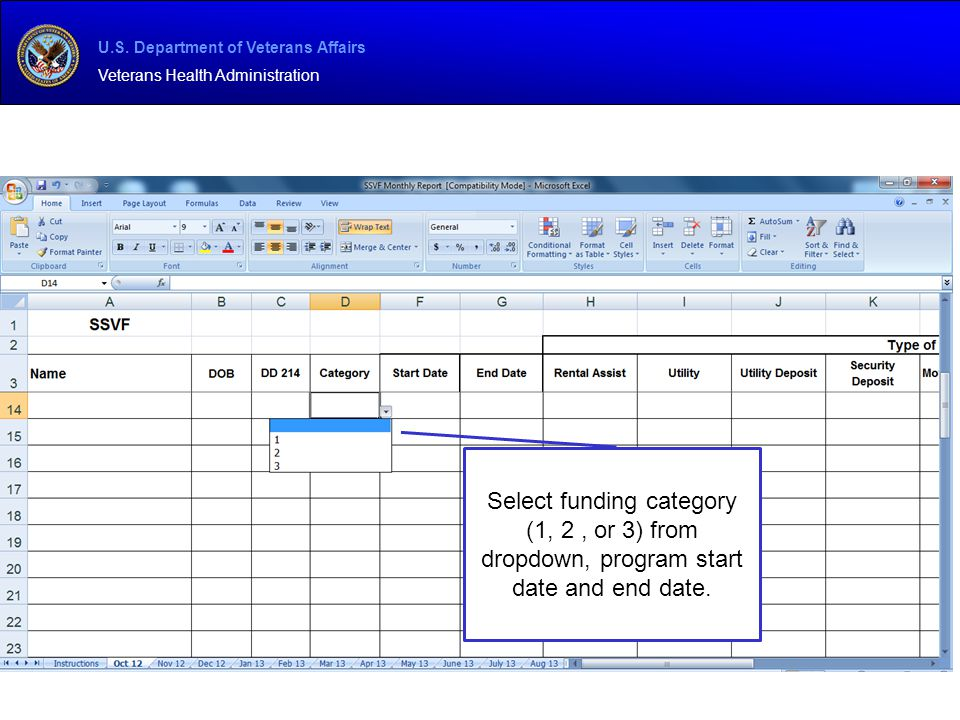 Select funding category (1, 2 , or 3) from dropdown, program start date and end date.