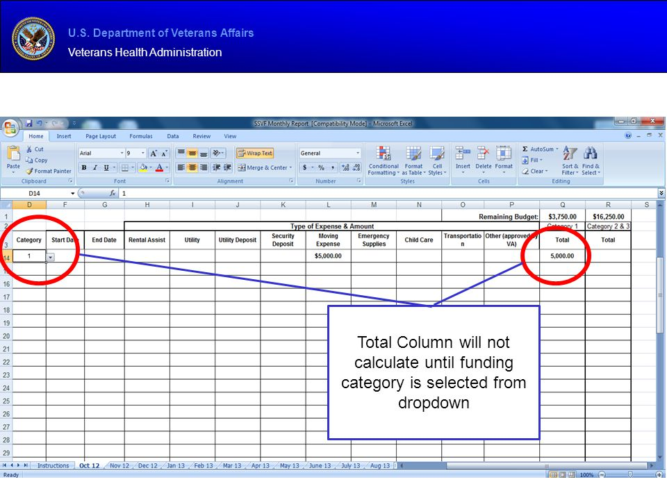 Total Column will not calculate until funding category is selected from dropdown