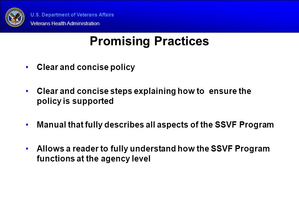 Promising Practices Clear and concise policy