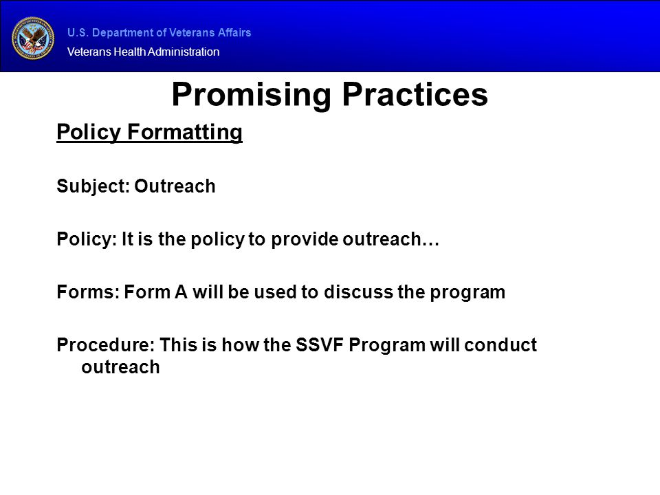 Promising Practices Policy Formatting Subject: Outreach