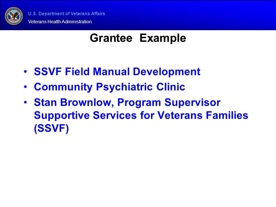 Grantee Example SSVF Field Manual Development