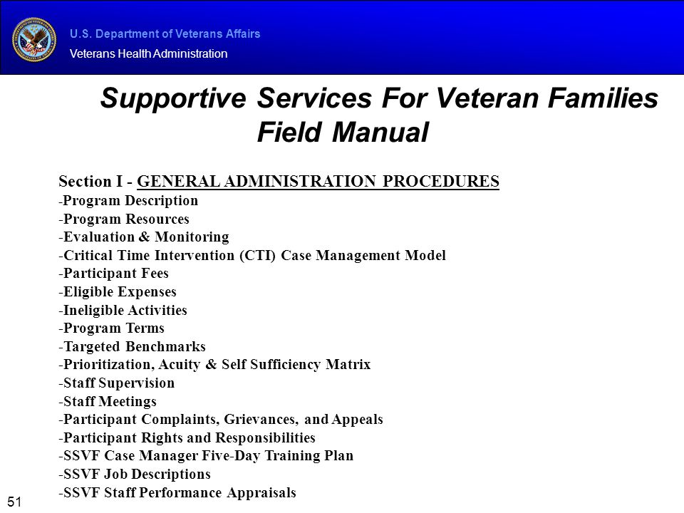 Supportive Services For Veteran Families Field Manual