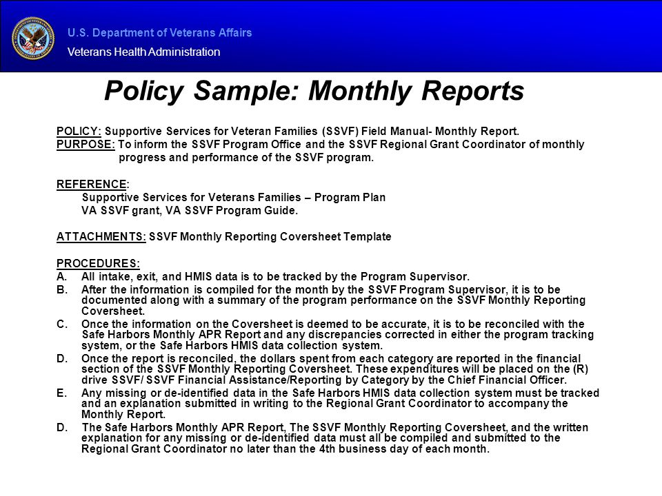 Policy Sample: Monthly Reports