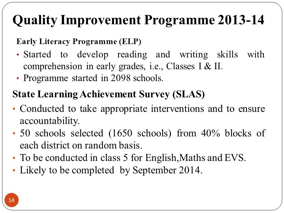 Quality Improvement Programme 2013-14