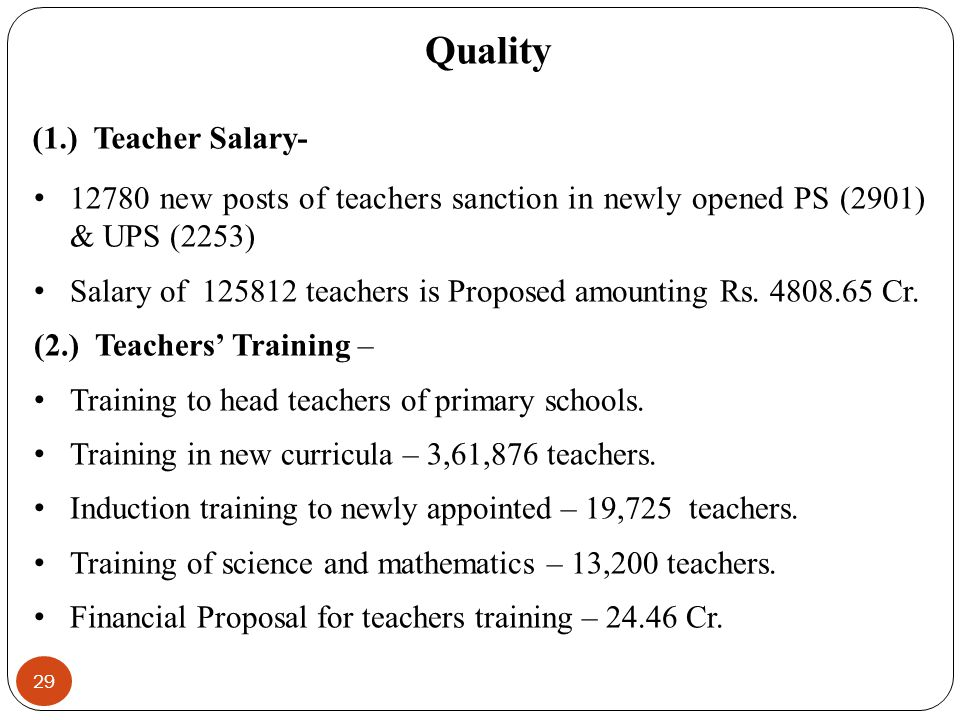 Quality (1.) Teacher Salary-