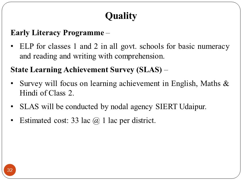 Quality Early Literacy Programme –
