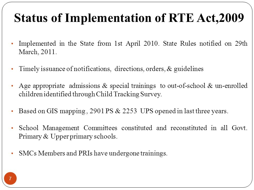 Status of Implementation of RTE Act,2009