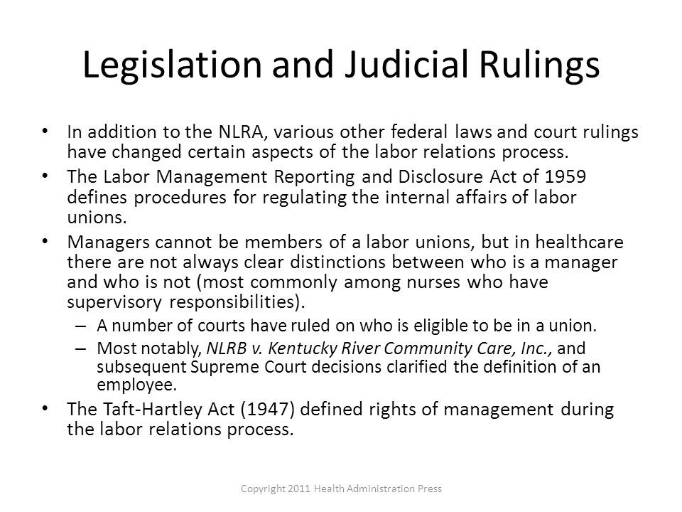 Legislation and Judicial Rulings