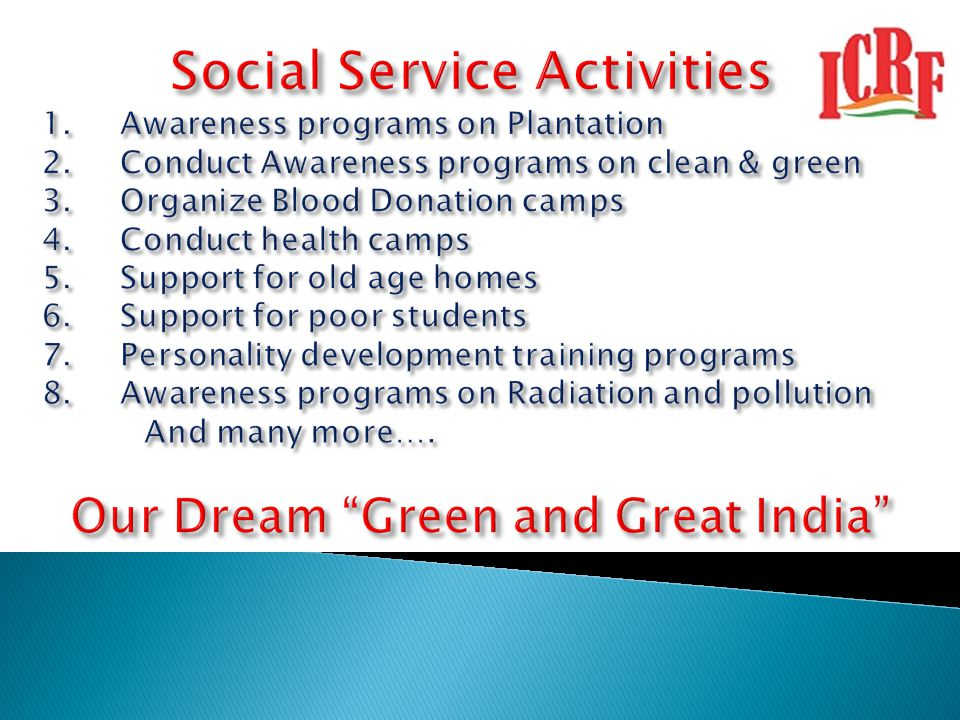 Social Service Activities Our Dream Green and Great India