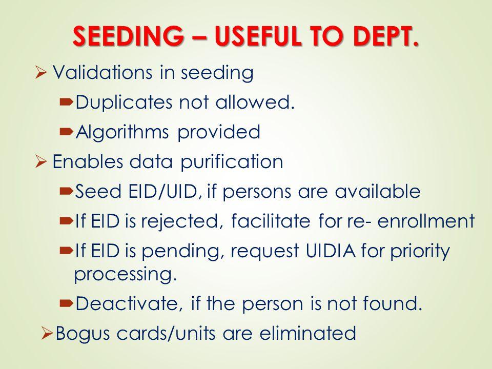 SEEDING – USEFUL TO DEPT.