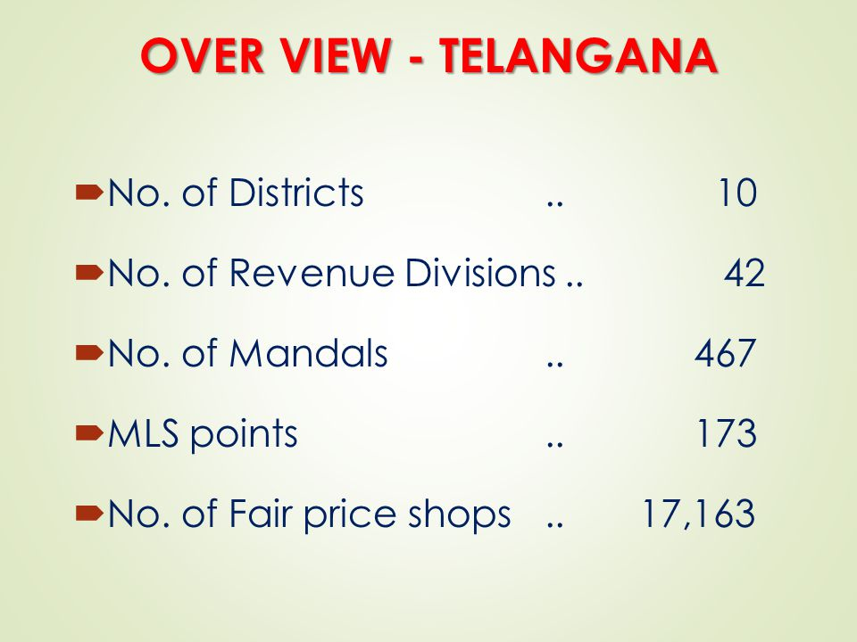 OVER VIEW - TELANGANA No. of Districts .. 10