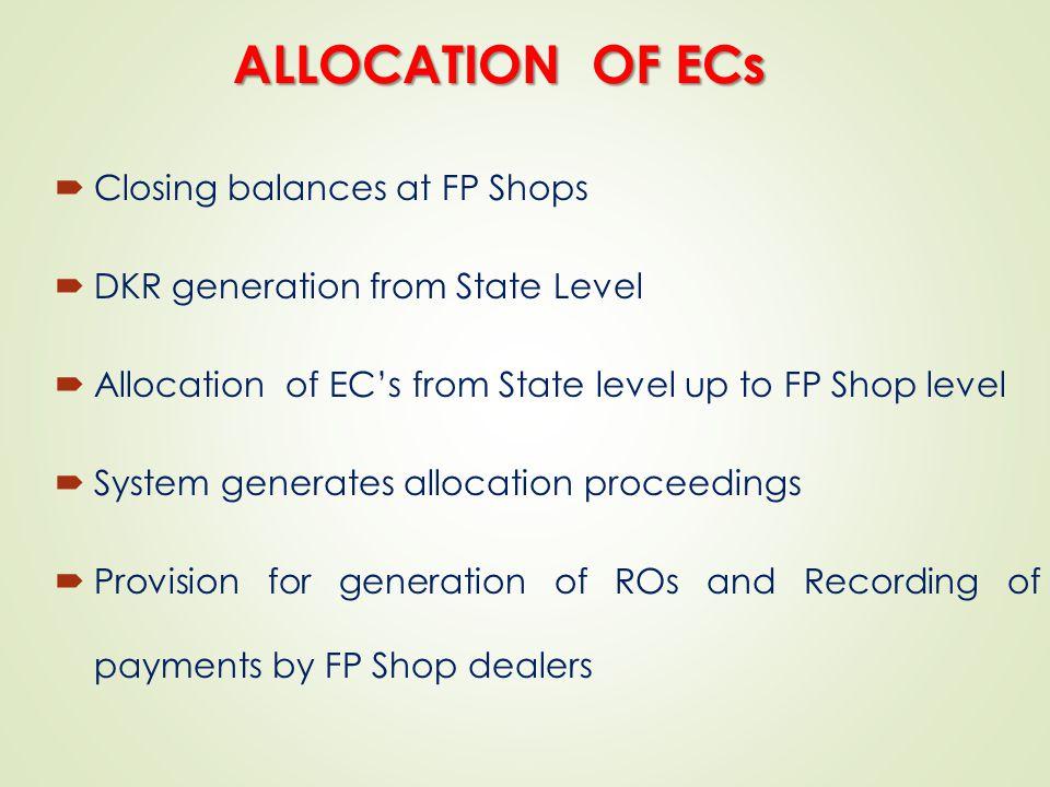 ALLOCATION OF ECs Closing balances at FP Shops