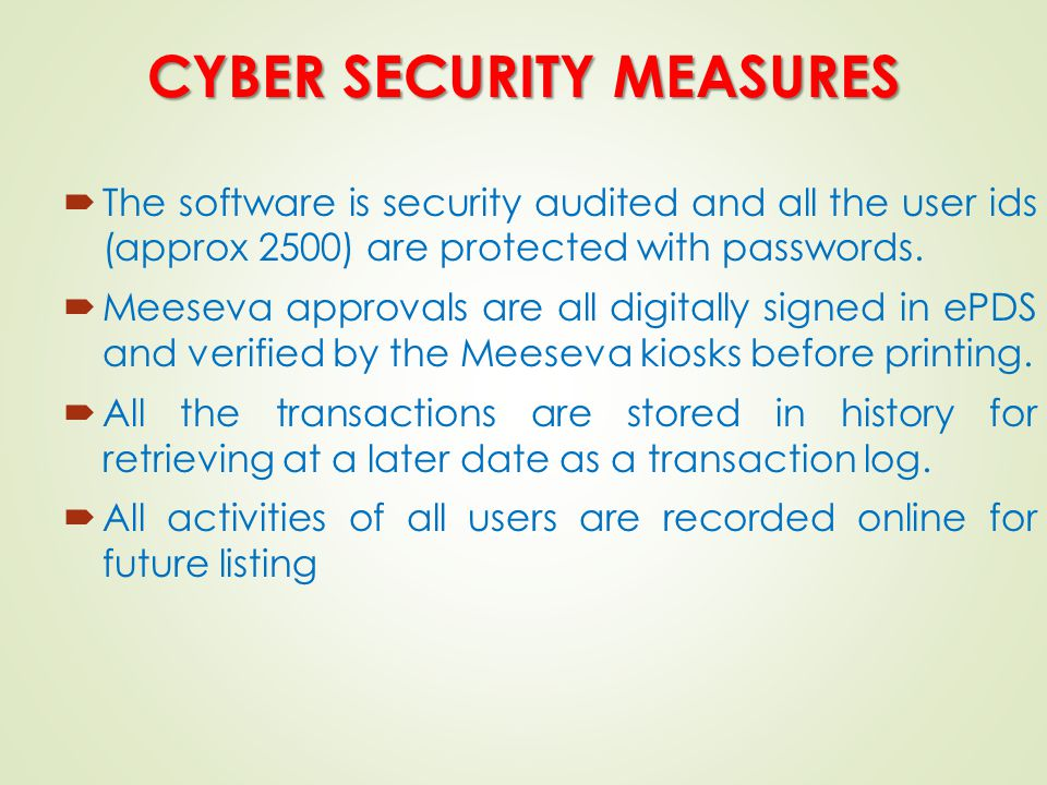 CYBER SECURITY MEASURES