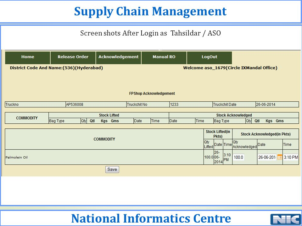 Supply Chain Management National Informatics Centre