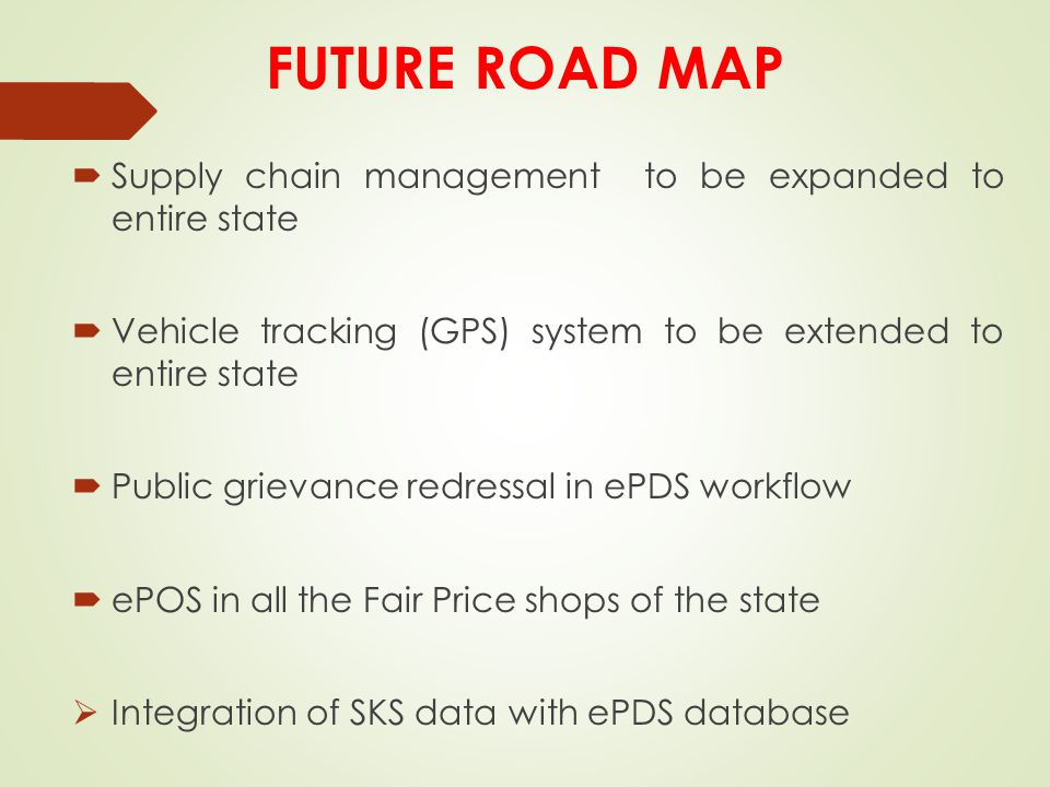 FUTURE ROAD MAP Supply chain management to be expanded to entire state