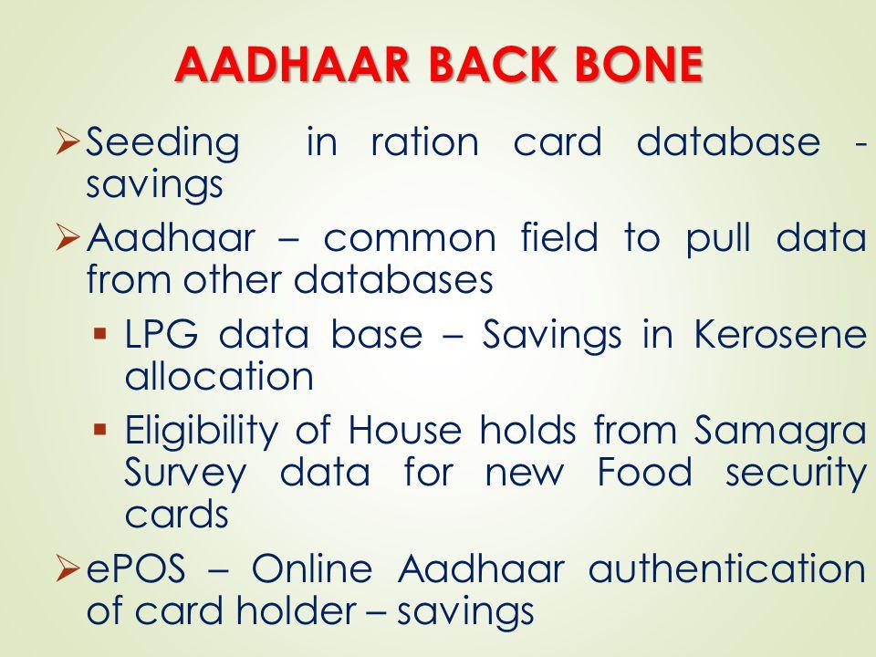 AADHAAR BACK BONE Seeding in ration card database - savings