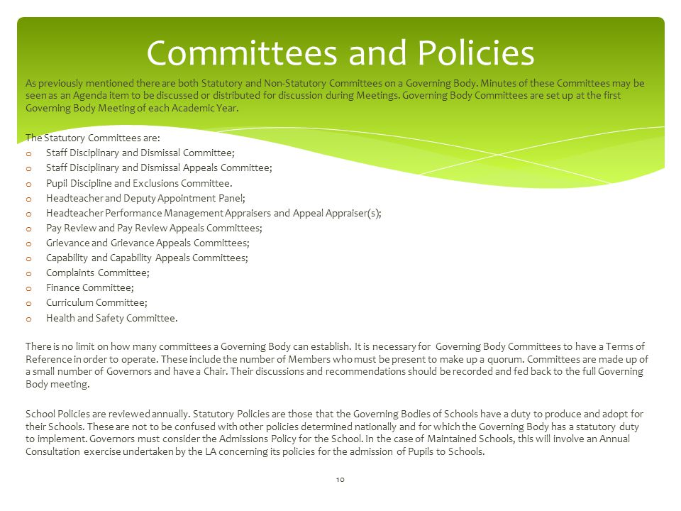 Committees and Policies