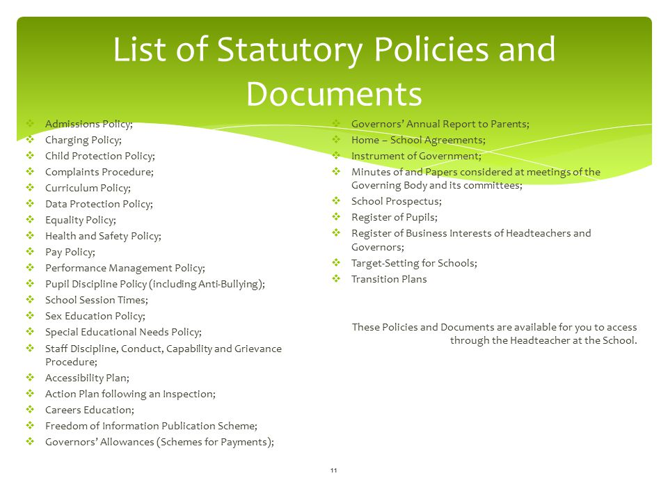 List of Statutory Policies and Documents