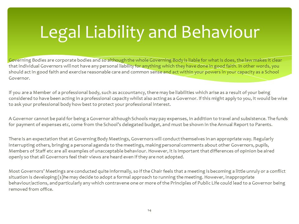 Legal Liability and Behaviour