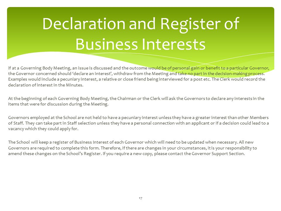 Declaration and Register of Business Interests