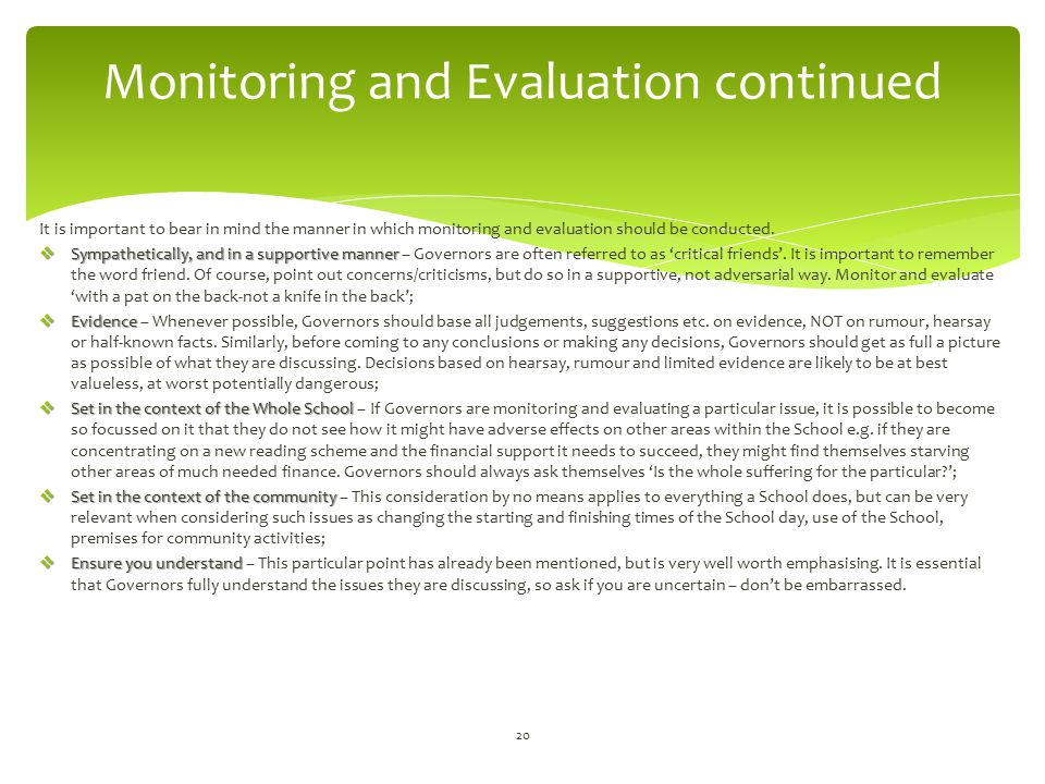 Monitoring and Evaluation continued