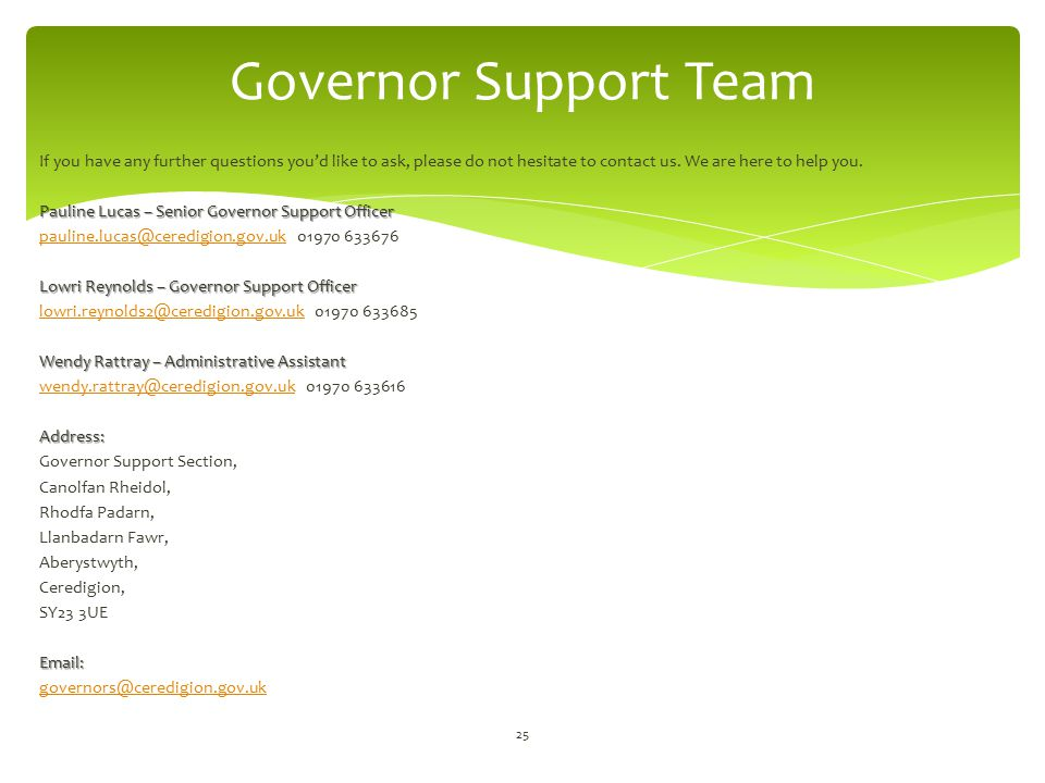 Governor Support Team