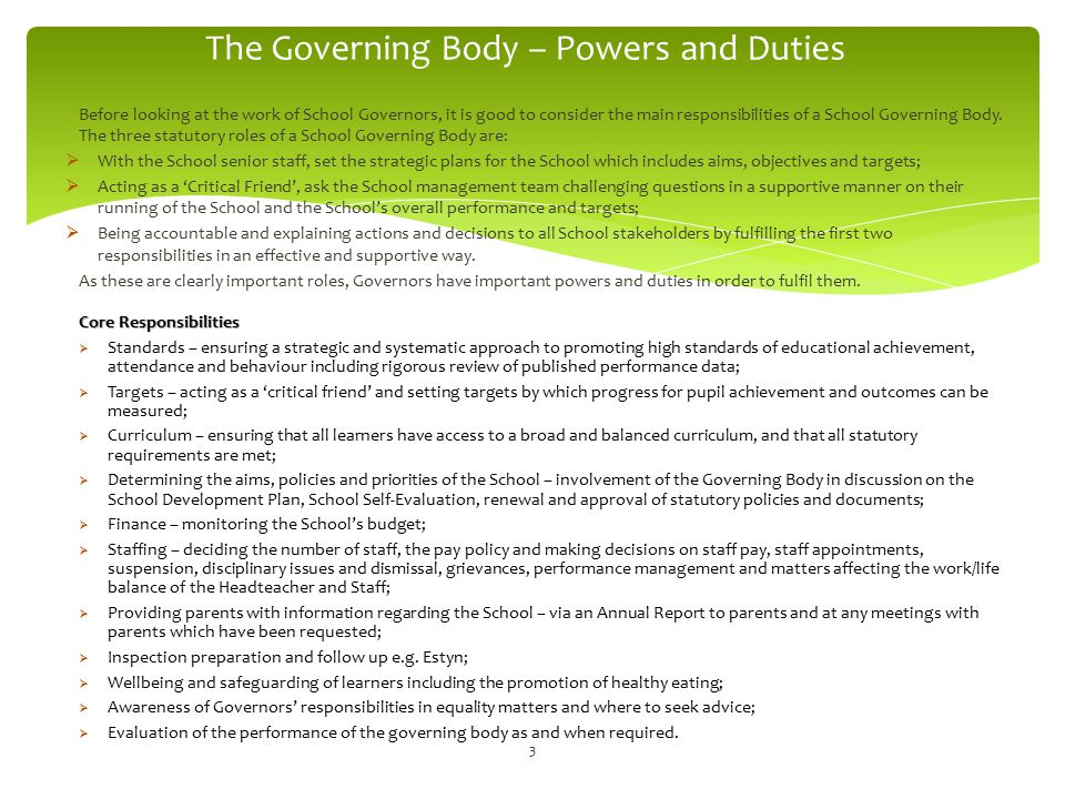 The Governing Body – Powers and Duties