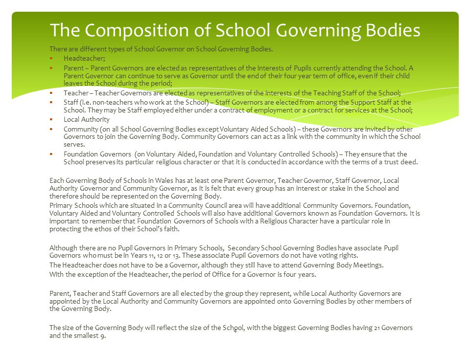 The Composition of School Governing Bodies