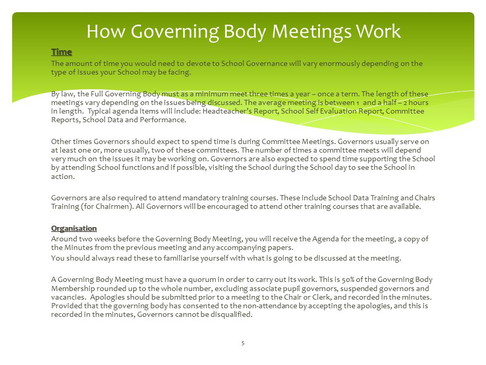 How Governing Body Meetings Work