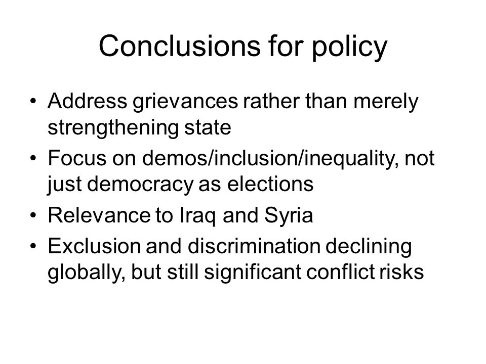 Conclusions for policy
