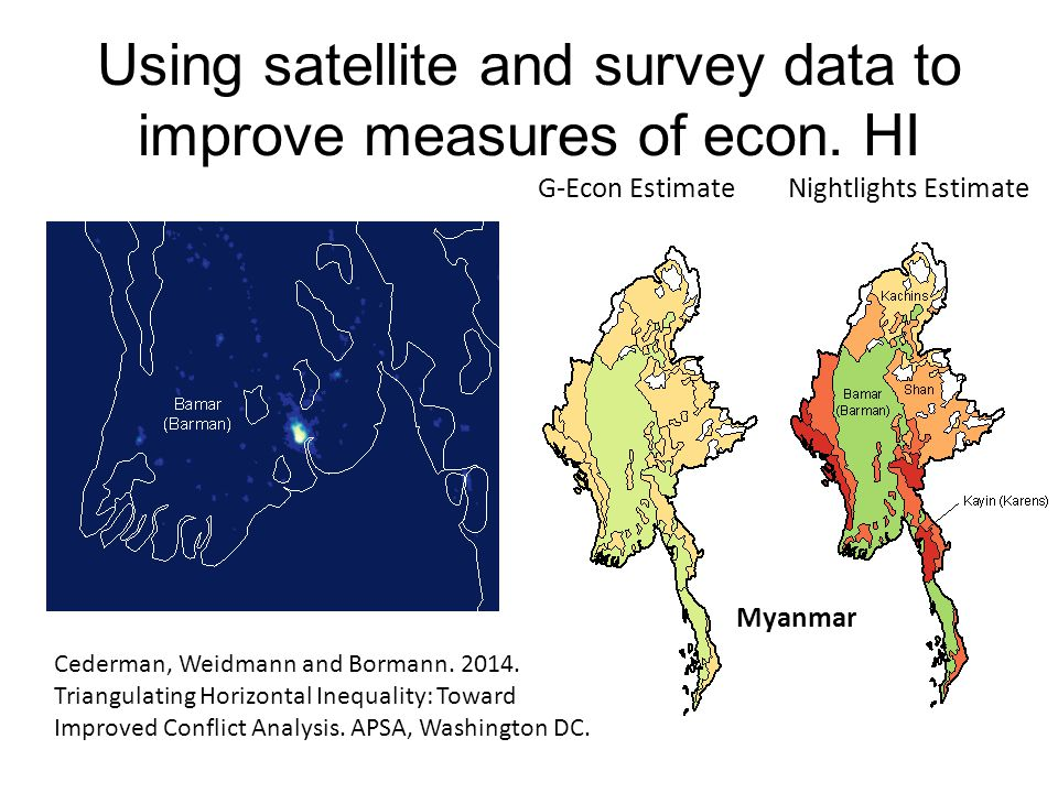 Using satellite and survey data to improve measures of econ. HI