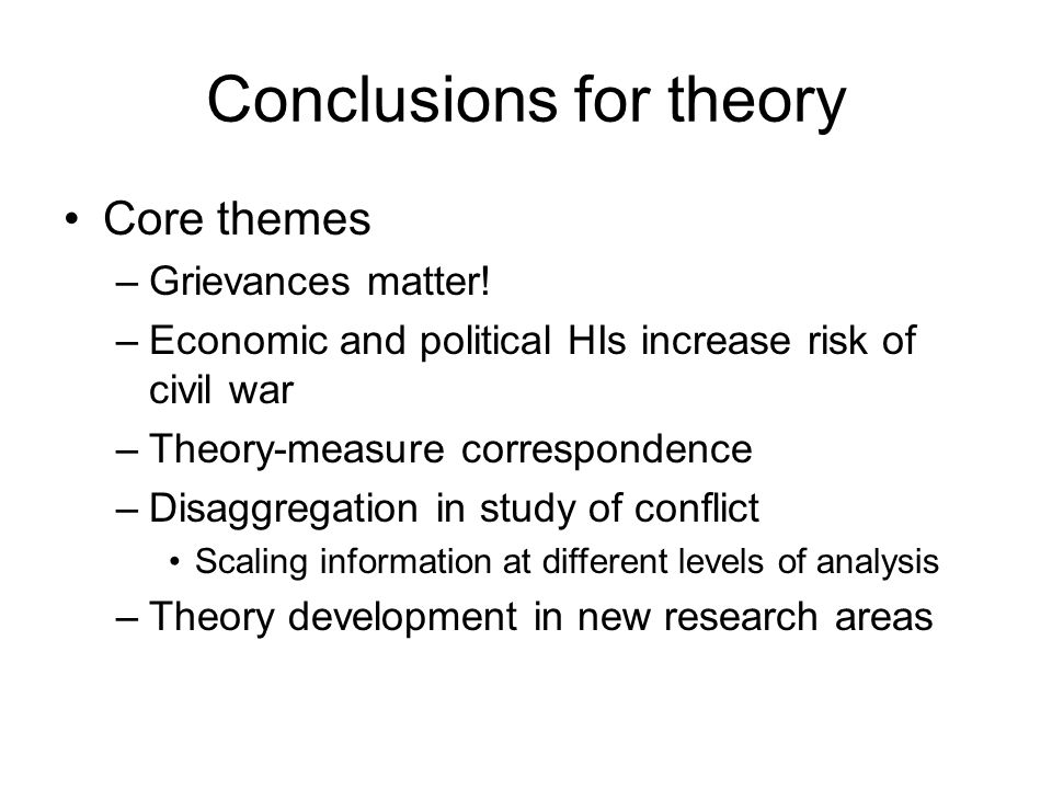 Conclusions for theory