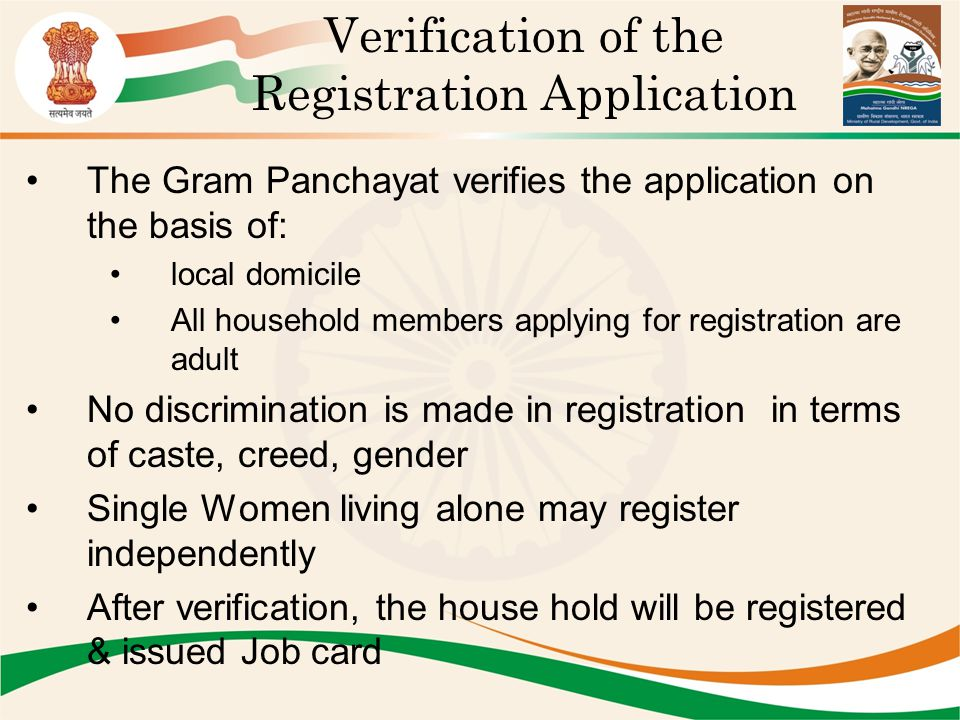 Verification of the Registration Application