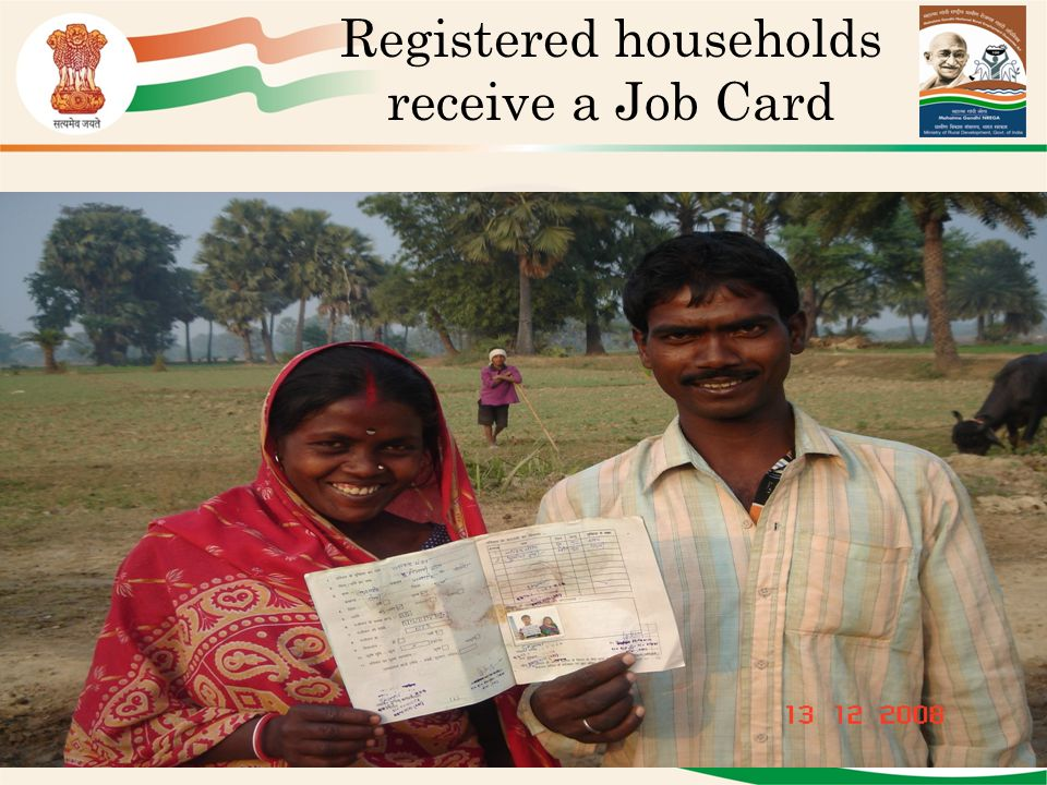 Registered households receive a Job Card